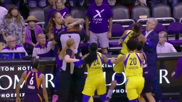 Brittney Griner Throws Massive Punches In Brawl With Dallas Wings (Video)